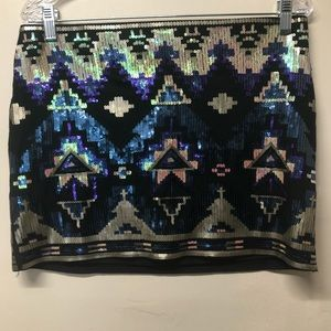 Express Metallic Sequin Aztec Holiday Mini Skirt M
